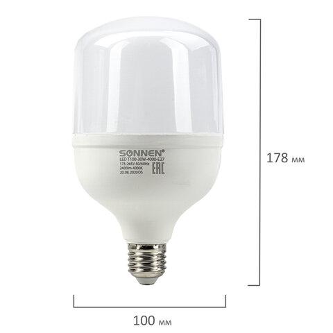 Лампа светодиодная SONNEN, 30 (250) Вт, цоколь Е27, цилиндр, нейтральный белый, 30000 ч, LED Т100-30W-4000-E27, 454923