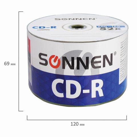 Диски CD-R SONNEN 700 Mb 52x Bulk (термоусадка без шпиля), КОМПЛЕКТ 50 шт., 512571