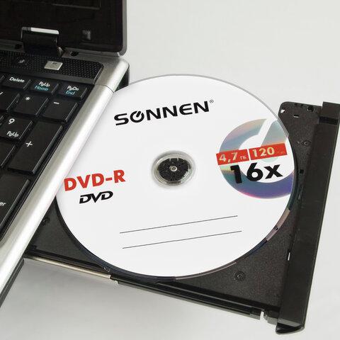 Диски DVD-R SONNEN 4,7 Gb 16x Bulk (термоусадка без шпиля), КОМПЛЕКТ 50 шт., 512574