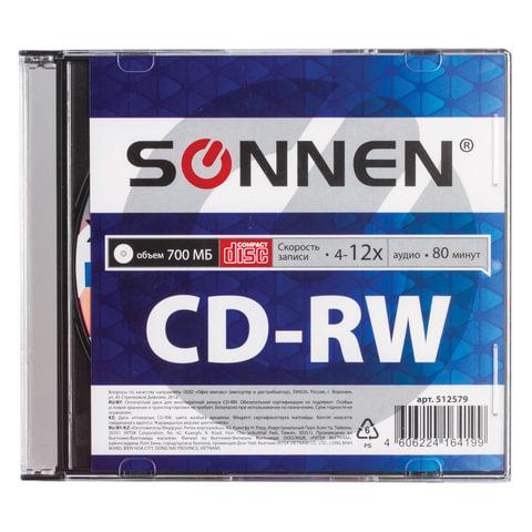 Диск CD-RW SONNEN, 700 Mb, 4-12x, Slim Case (1 штука), 512579