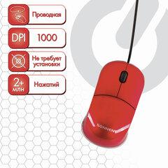 Мышь проводная SONNEN М-2241R, USB, 1000 dpi, 2 кнопки + 1 колесо-кнопка, оптическая, красная, 512635