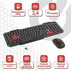Набор беспроводной SONNEN WKM-1811, клавиатура 112 клавиш мультимедиа, мышь 4 кнопки, черный, 512655