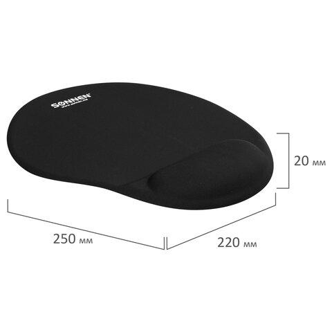 Коврик для мыши с подушкой под запястье SONNEN, полиуретан + лайкра, 250х220х20мм, черный, 513299