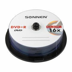 Диски DVD+R SONNEN, 4,7 Gb, 16x, Cake Box (упаковка на шпиле), КОМПЛЕКТ 25 шт., 513532