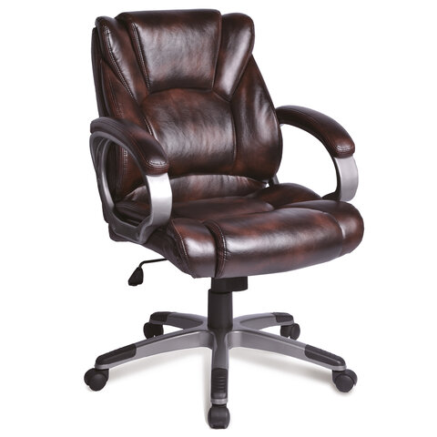 """Кресло офисное BRABIX """"Eldorado EX-504"""", экокожа, коричневое, 530875"""