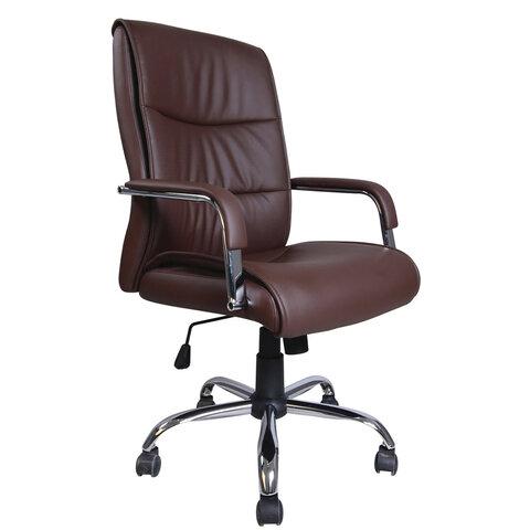 """Кресло офисное BRABIX """"Space EX-508"""", экокожа, хром, коричневое, 531164"""