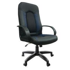 """Кресло офисное BRABIX """"Strike EX-525"""", экокожа черная/синяя, ткань серая, TW, 531378"""