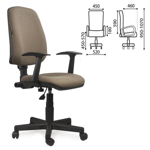 """Кресло BRABIX """"Basic MG-310"""", с подлокотниками, коричневое KB-28, 531414"""