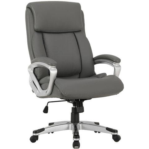 """Кресло офисное BRABIX PREMIUM """"Level EX-527"""", пружинный блок, рециклированная кожа, серое, 531937"""