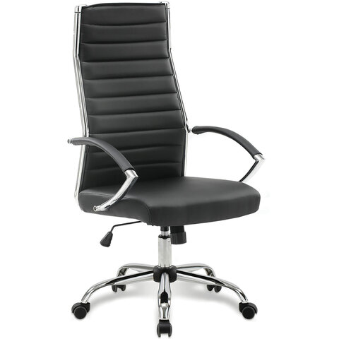 """Кресло офисное BRABIX """"Style EX-528"""", экокожа, хром, черное, 531947"""