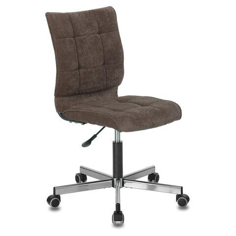 """Кресло BRABIX """"Stream MG-314"""", без подлокотников, пятилучие серебристое, ткань, коричневое, 532393"""