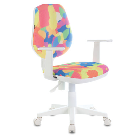 "Кресло BRABIX ""Fancy MG-201W"", с подлокотниками, пластик белый, с рисунком ""Abstract"", 532406"