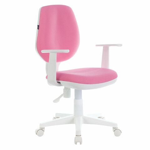 """Кресло BRABIX """"Fancy MG-201W"""", с подлокотниками, пластик белый, розовое, 532409"""