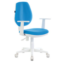 """Кресло BRABIX """"Fancy MG-201W, с подлокотниками, пластик белый, голубое, 532411"""