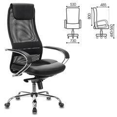 """Кресло офисное BRABIX PREMIUM """"Stalker EX-609 PRO"""", хром, мультиблок, ткань-сетка/экокожа, черное, 532416"""
