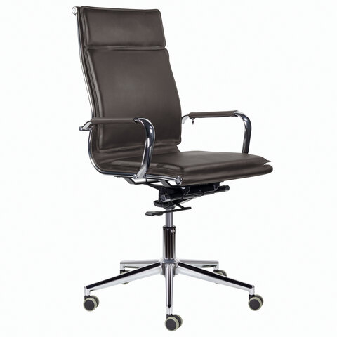 """Кресло офисное BRABIX PREMIUM """"Kayman EX-532"""", экокожа, хром, темно-коричневое, 532545"""