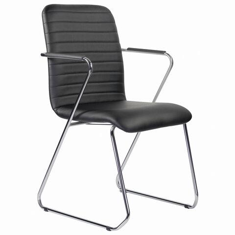 """Кресло для приемных и переговорных BRABIX """"Visit CF-101"""", хром, экокожа, черное, 532559"""