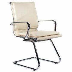 """Кресло для приемных и переговорных BRABIX """"Kayman CF-102"""", экокожа, хром, бежевое, 532573"""