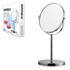 Зеркало косметическое настольное круглое, диаметр 17 см, двустороннее с увеличением, BRABIX, 602852