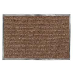 Коврик входной ворсовый влаго-грязезащитный LAIMA, 90х120 см, ребристый, толщина 7 мм, коричневый, 602873