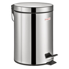 """Ведро-контейнер для мусора (урна) с педалью LAIMA """"Classic"""", 3 л, зеркальное, нержавеющая сталь, со съемным внутренним ведром, 604942"""