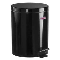 """Ведро-контейнер для мусора (урна) с педалью LAIMA """"Classic"""", 5 л, черное, глянцевое, металл, со съемным внутренним ведром, 604943"""
