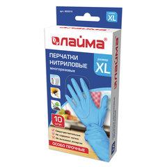 Перчатки нитриловые многоразовые ОСОБО ПРОЧНЫЕ, 5 пар (10 шт.), XL (очень большой), голубые, LAIMA, 605019
