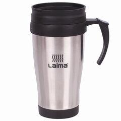 Термокружка LAIMA, 400 мл, нержавеющая сталь, пластиковая ручка, серебристая, 605126