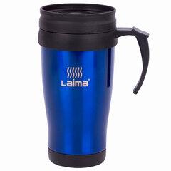 Термокружка LAIMA, 400 мл, нержавеющая сталь, пластиковая ручка, синяя, 605128