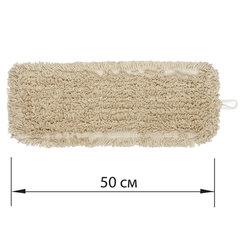 Насадка МОП плоская для швабры/держателя 50 см, уши/карманы (ТИП У/К), нашивной хлопок, LAIMA EXPERT, 605304
