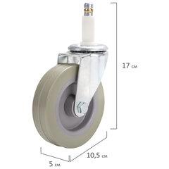 Колеса для уборочной тележки с штоком без резьбы, диаметр 99 мм, КОМПЛЕКТ 4 штуки, BRABIX, 605381