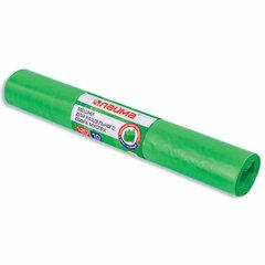 Мешки для раздельного сбора мусора 120 л зеленые в рулоне 10 шт., ПВД 38 мкм, 70х108 см, LAIMA, 606708