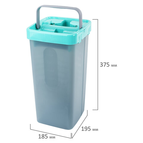 Швабра с отжимом и двухкамерным ведром, 7 л, 3 насадки МОП, набор для уборки LAIMA COMPACT MOP, 607389
