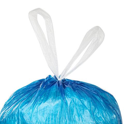 """Мешки для мусора с завязками LAIMA """"ULTRA"""" 35 л, синие, 20 шт., особо прочные, ПВД 20 мкм, 50х60 см, 607689"""