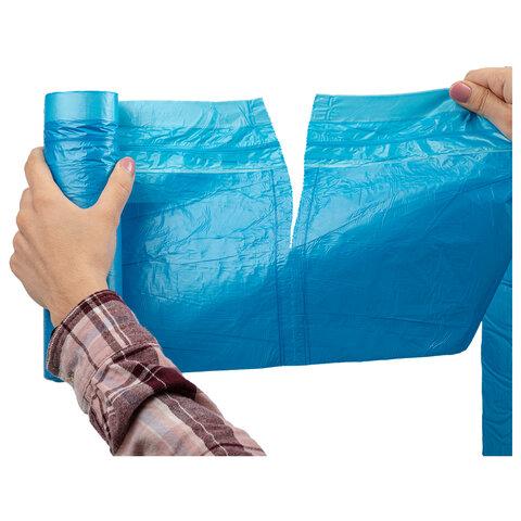 """Мешки для мусора с завязками LAIMA """"ULTRA"""" 60 л, синие, 20 шт., прочные, ПНД 17 мкм, 60х70 см, 607692"""