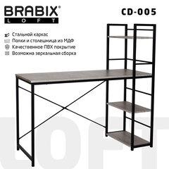 "Стол на металлокаркасе BRABIX ""LOFT CD-005"", 1200х520х1200 мм, 3 полки, цвет дуб антик, 641222"
