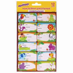 Наклейки для маркировки школьных принадлежностей «Зверушки», 12 штук, 14х21 см, ЮНЛАНДИЯ, 662708