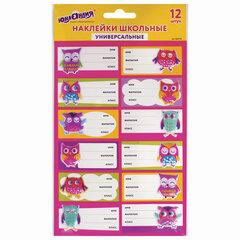 Наклейки для маркировки школьных принадлежностей «Совы», 12 штук, 14х21 см, ЮНЛАНДИЯ, 662710