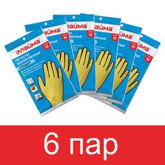 Перчатки латексные КОМПЛЕКТ 6 ПАР, размер М (средний), LAIMA МНОГОРАЗОВЫЕ, х/б напыление, 880076