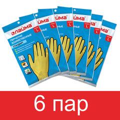 Перчатки латексные КОМПЛЕКТ 6 ПАР, размер L (большой), LAIMA МНОГОРАЗОВЫЕ, х/б напыление, 880077
