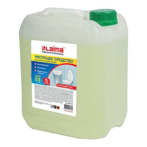 Средство для уборки туалета 5 л ЛАЙМА PROFESSIONAL, ГЕЛЬ с отбеливающим эффектом, 880284
