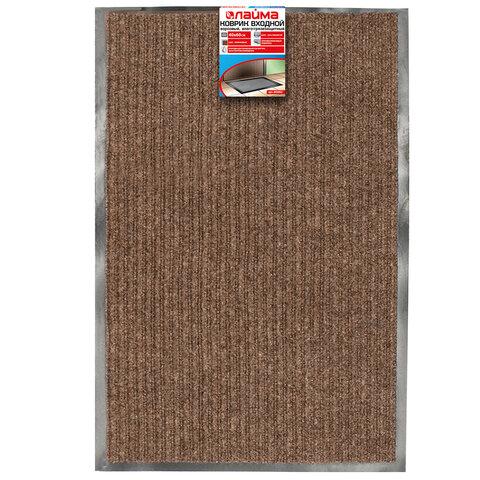 Коврик входной ворсовый влаго-грязезащитный 40х60 см ребристый, толщина 7 мм, коричневый, ЛАЙМА, 880310