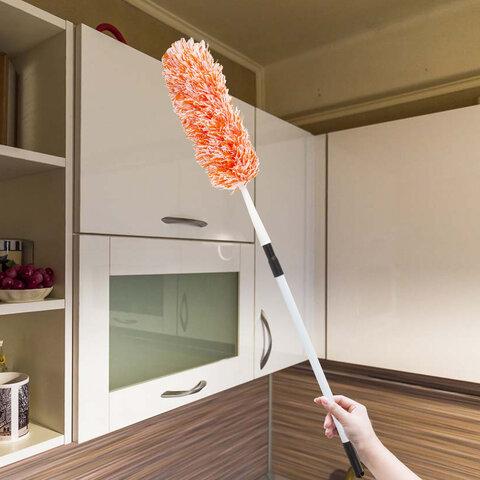 Сметка-метелка для смахивания пыли, телескопическая стальная ручка, 160 см, оранжевая, ЛАЙМА, 880322